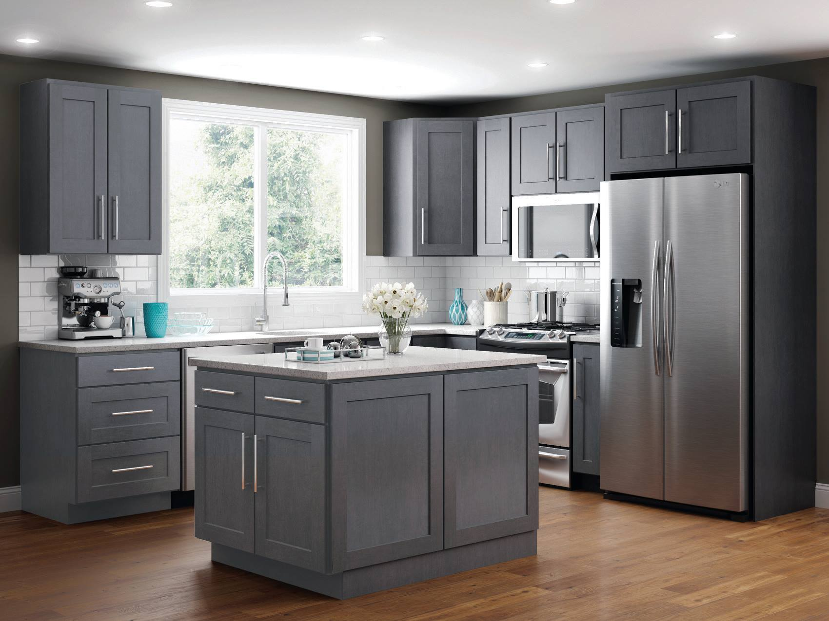 grey shaker kitchen cabin