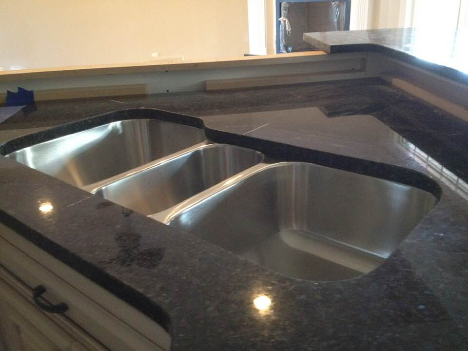 dark granite white cabinets