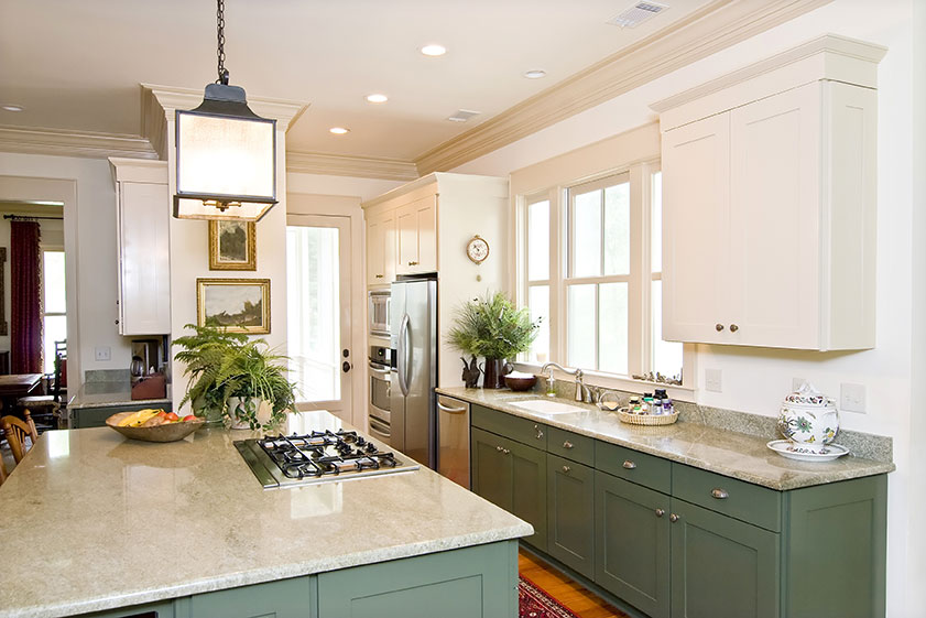 granite countertops green cabinets