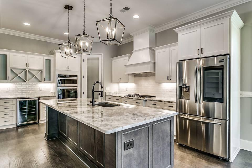 kitchen white black cabients light granite